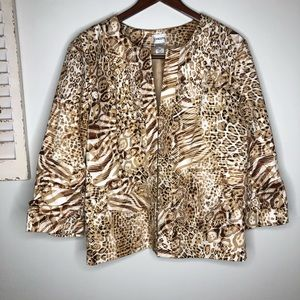 Chico's Leopard Print Jacket 3 XL Ruched Sleeves
